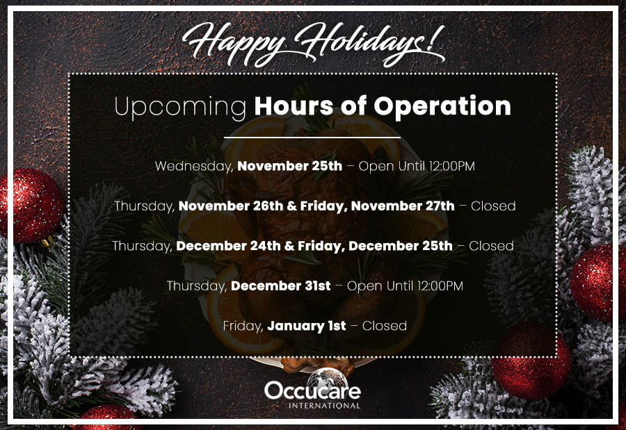 Occucare 2020 Holiday Hours